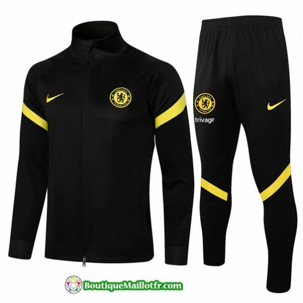 Veste Survetement Chelsea 2021 2022 Noir Col Haut