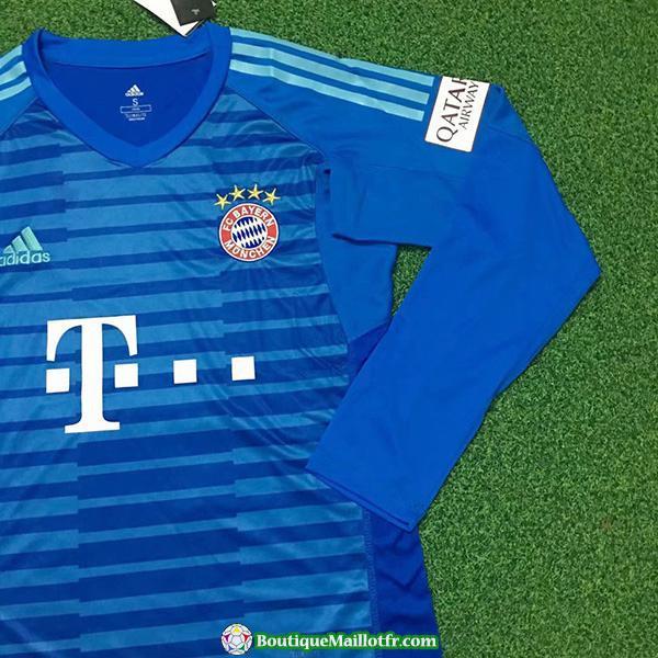 Maillot Bayern Munich Gardien Manche Longue 2018 2019 Bleu
