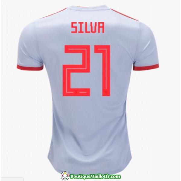 Maillot Espagne Silva 2018 Exterieur