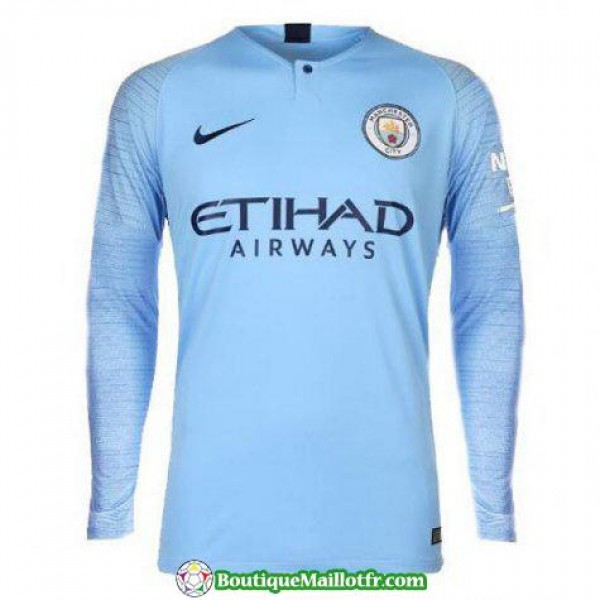 Maillot Manchester City Manche Longue 2018 2019 Do...