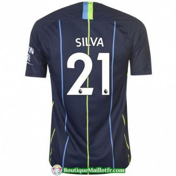 Maillot Manchester City Silva 2018 2019 Exterieur