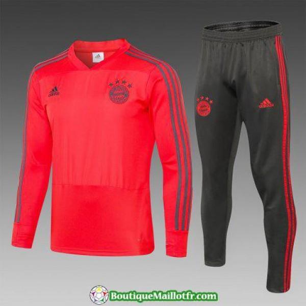 Survetement Bayern Munich 2018 2019 V Col Rouge