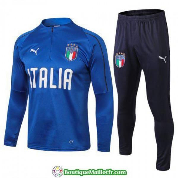 Survetement Italie 2018 2019 Fermeture Eclair Bleu