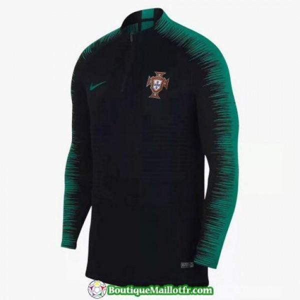Survetement Portugal 2018 2019 Fermeture Eclair Noir Vert