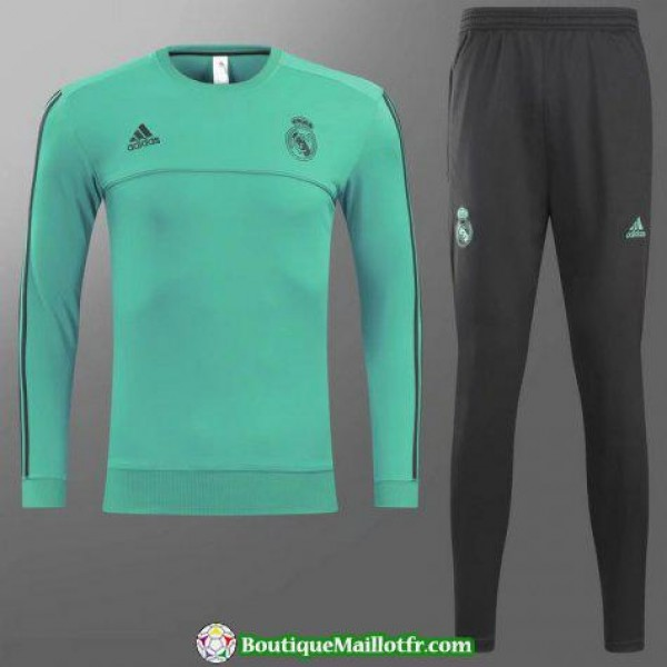 Survetement Real Madrid 2017-2018 Col Rond Vert