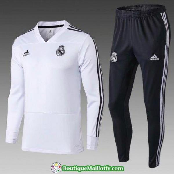 Survetement Real Madrid 2018 2019 V Col Noir Blanc